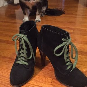 Black suede lace up booties.
